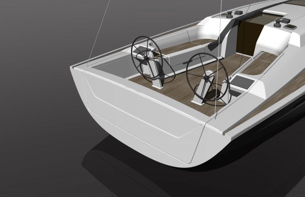 Nell'ampio pozzetto è prevista la doppia timoneria (ma solo una pala del timone) da dove lo skipper potrà consultare facilmente il charter pod affianco