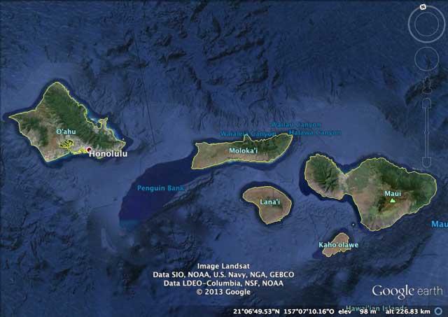 Le isole centrale delle Hawaii. Lanai è l'isola di proprietà al 98% di Larry Ellison. Per le eventuali regate sarebbero in ballottaggio Oahu e Maui