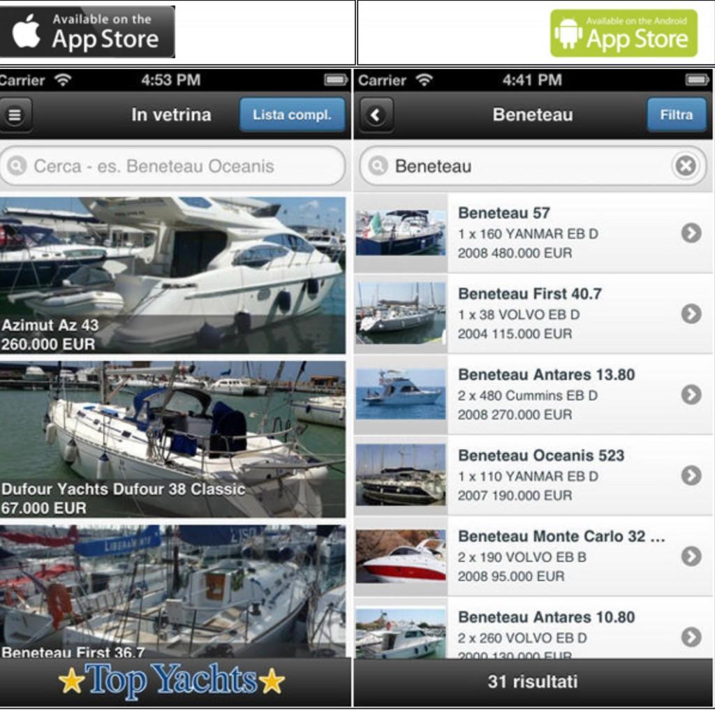 La schermata della nuova applicazione di Top yachts per consultare il loro catalogo dell'usato