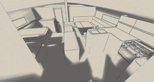 Gli interni del 53 piedi sono razionali e funzionali, studiati per offrire il massimo durante una crociera a lungo raggio