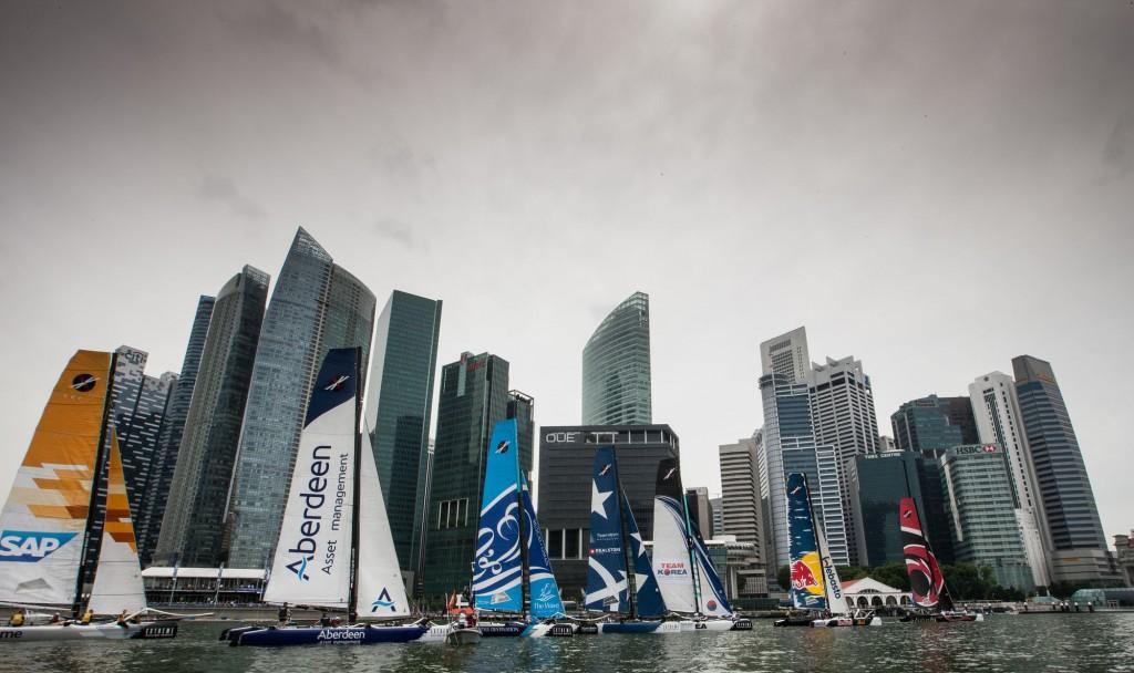 Gli Extreme 40 a Singapore. Foto Lloyd Images
