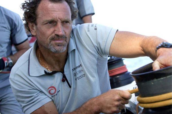 Lorenzo Mazza a bordo di Alinghi durante la Coppa America 2007