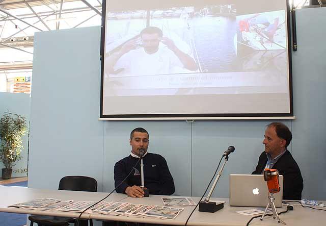 Giancarlo Pedote alla conferenza di ieri al Seatec. Foto Maselli/FareVela
