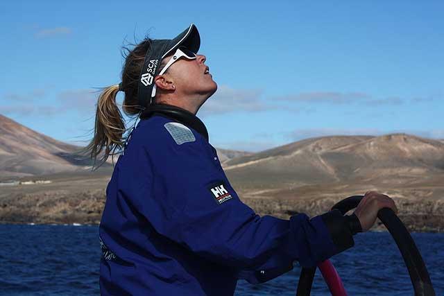 Sam Davies, timoniere di Team SCA durante la nostra uscita, ma il ruolo di skipper per la VOR non è stato ancora deciso. Foto Tognozzi