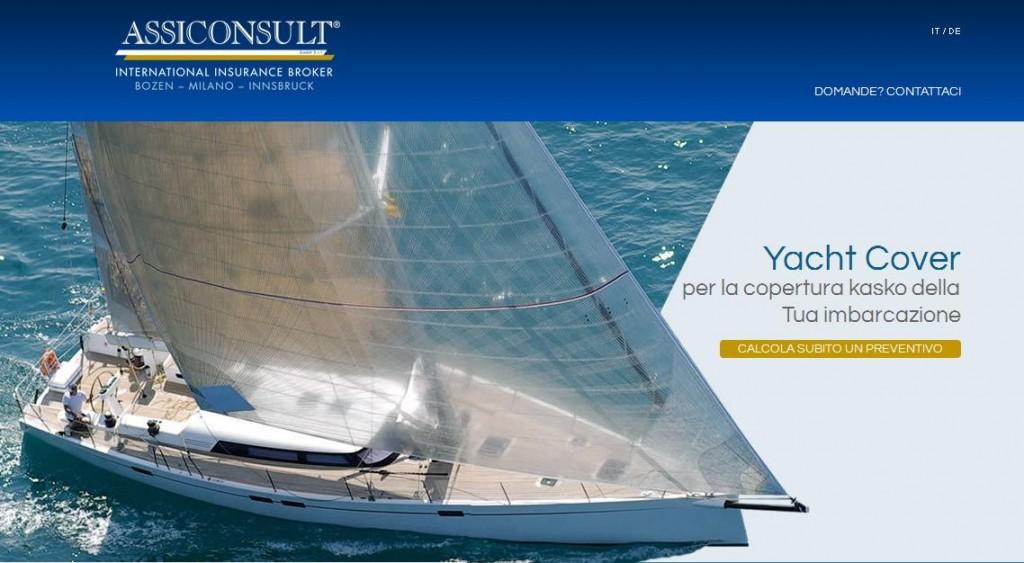 La homepage di Assiconsult dove è attivo il nuovo servizio per richiedere il preventivo per assicurazioni Corpi