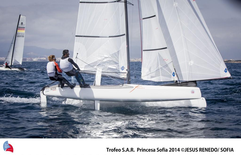 Salvà-Bianchi, bravssimi oggi a Palma nella fltta dei Nacra 17. Foto Renedo