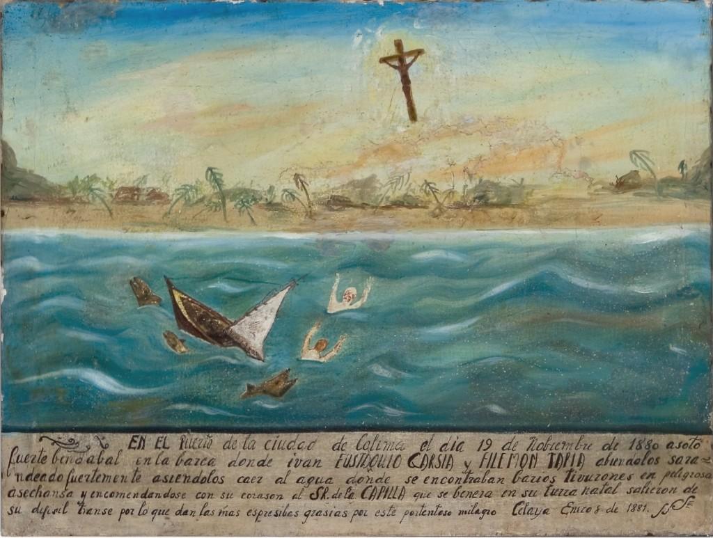 Una tavoletta dai colori allegri che raffigura il pericolo scampato di due messicani a bordo di una barchetta piccolissima. L'imbarcazione si rovescia e i due malcapitati finiscono tra le onde piene di squali con la bocca spalancata. Solo grazie all'intervento divino i due si salvano