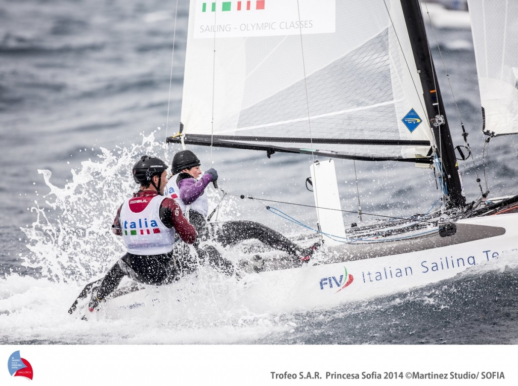 Vittorio Bissaro e Sulvia Sicouri oggi sul loro Nacra 17. Foto Renedo/Trofeo Sofia