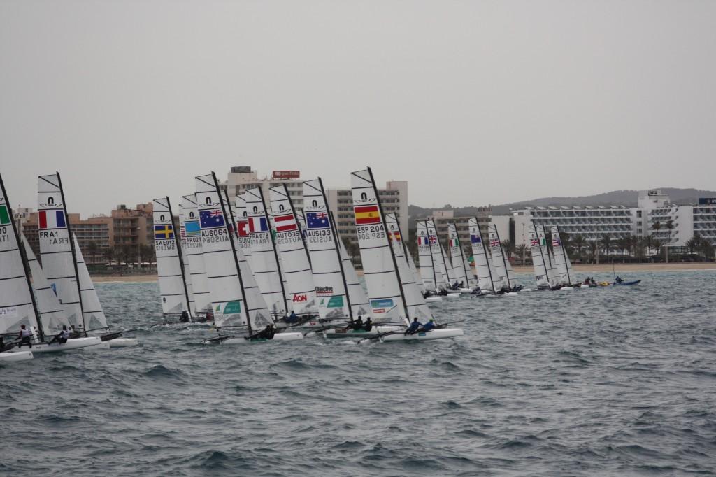 La partenza della seconda prova di finale della Gold Nacra 17. Foto Tognozzi