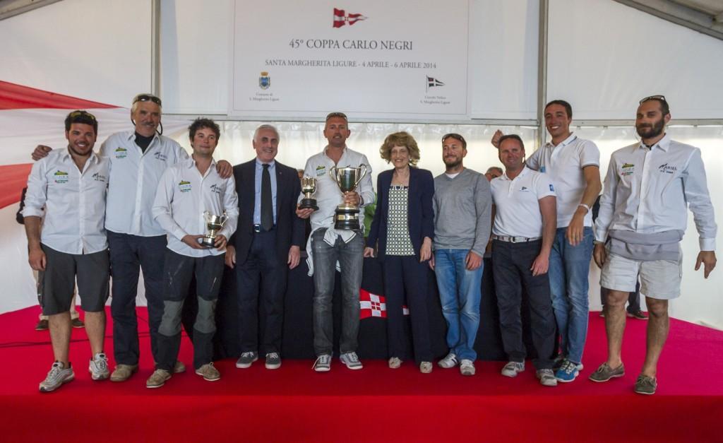 La premiazione della Coppa Carlo Negri, presente il presidente YCI, FIV e ISAF Carlo Croce