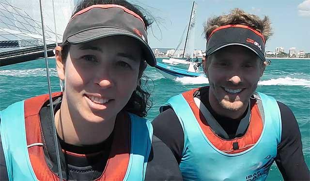 Il sorriso di Vittorio Bissaro e Silvia Sicouri subito dopo la conclusione della Medal Race che vale l'argento alla World Cup Mallorca. Foto Tognozzi