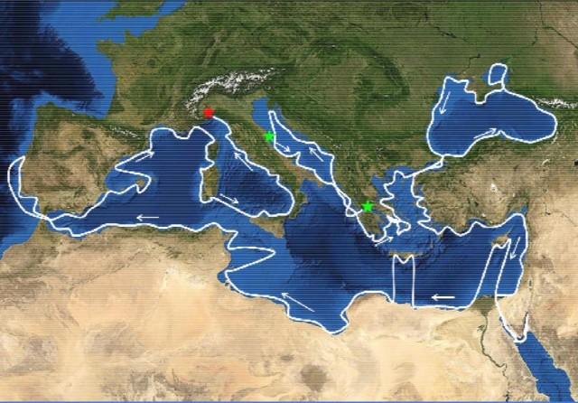 La cartina mostra la rotta ipotetica che seguiranno gli uomini (e le donne) di Mediterranea