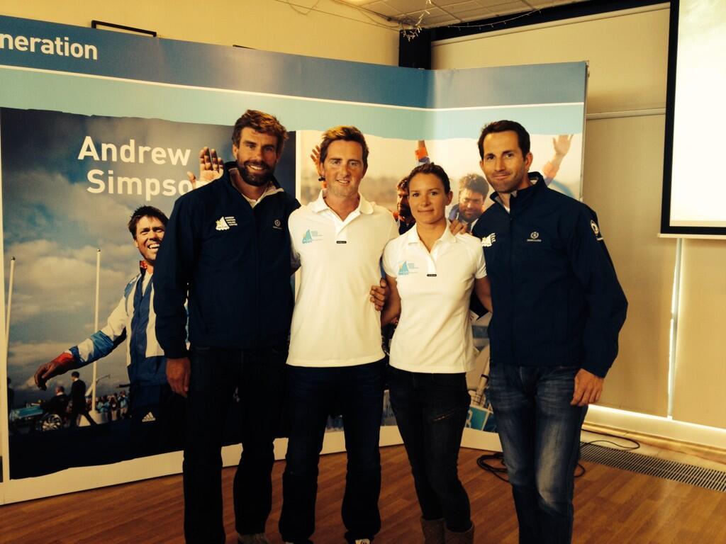 Ben Ainslie e Iain Percy oggi all'inaugurazione del Andrew Simspn Sailing Center a Weymouth