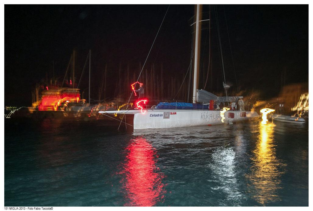 Kuka Light all'arrivo notturno a Punta Ala nella scorsa edizione. Foto Taccola