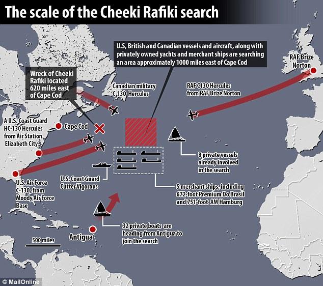 La cartina della zona delle ricerche, courtesy Daily Mail