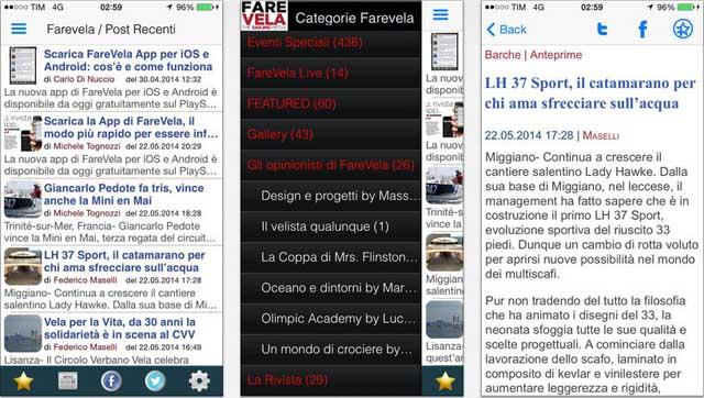 L'App FareVela per iPhone: da sinistra le schermate ultime notizie, categorie e lettura