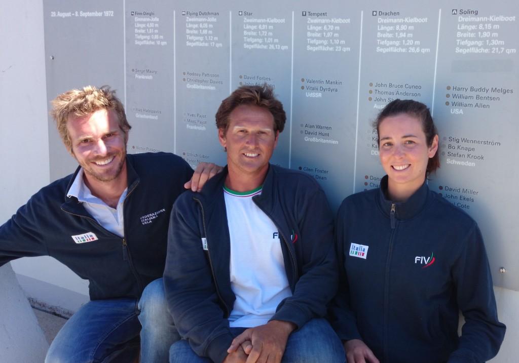 Vittorio Bissaro e Silvia Sicouri a Kiel insieme al loro allenatore FIV Gabriele Bruni. Foto FIV