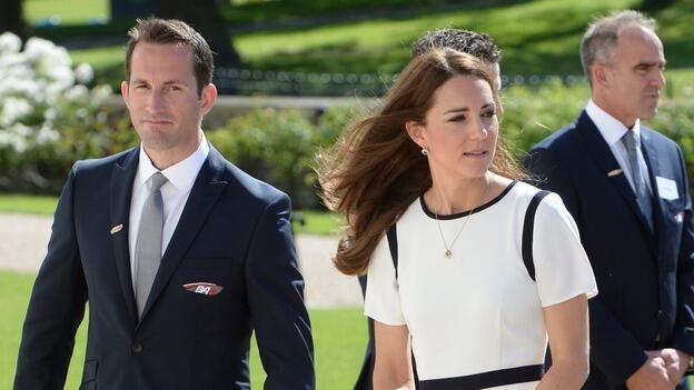 Sir Ben Ainslie con la Duchessa di Cambridge. Foto ITV News