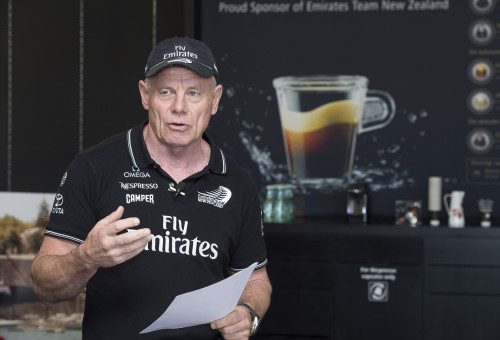 Grant Dalton durante la conferenza stampa di oggi ad Auckland. Foto Team NZL