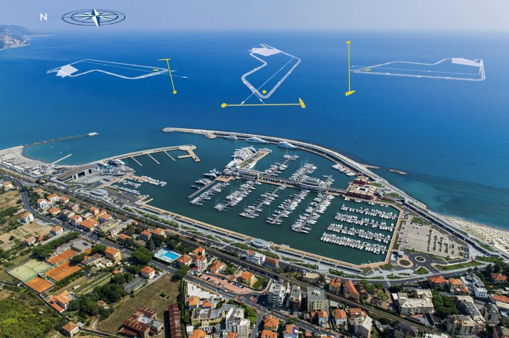 La posizione dei campi di regata dell'Assoluto Altura a Marina di Loano
