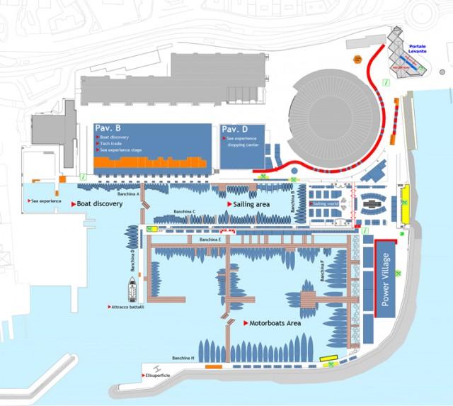 La planimetria mostra la nuova disposizione degli espositori. La vela sarà ospitata al Marina 1 e al Palavitelli