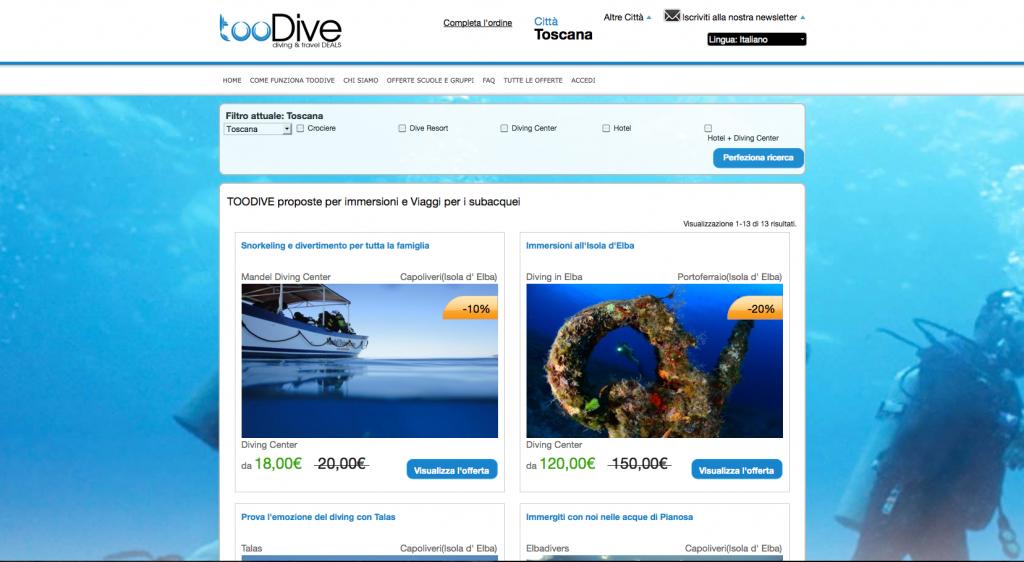"""L'Home Page del nuovo sito """"tooDive"""" dedicato a chi ama il mondo sommerso"""