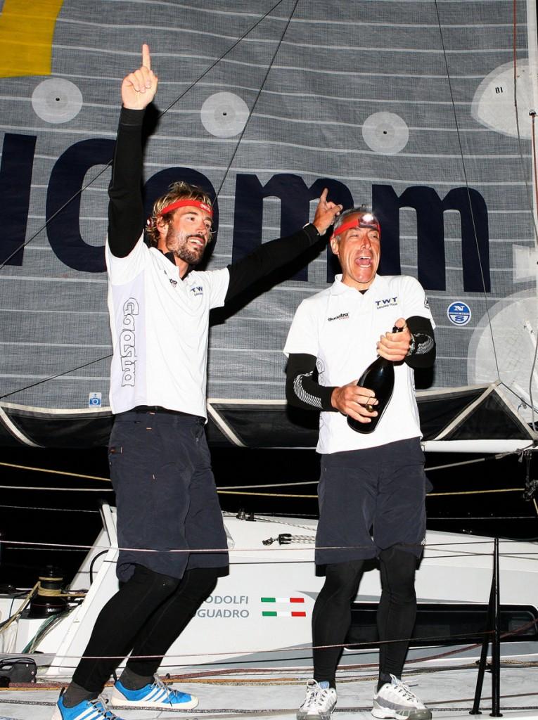Marco Rodolfi e Matteo Auguadro festeggiano all'arrivo. Foto Carloni