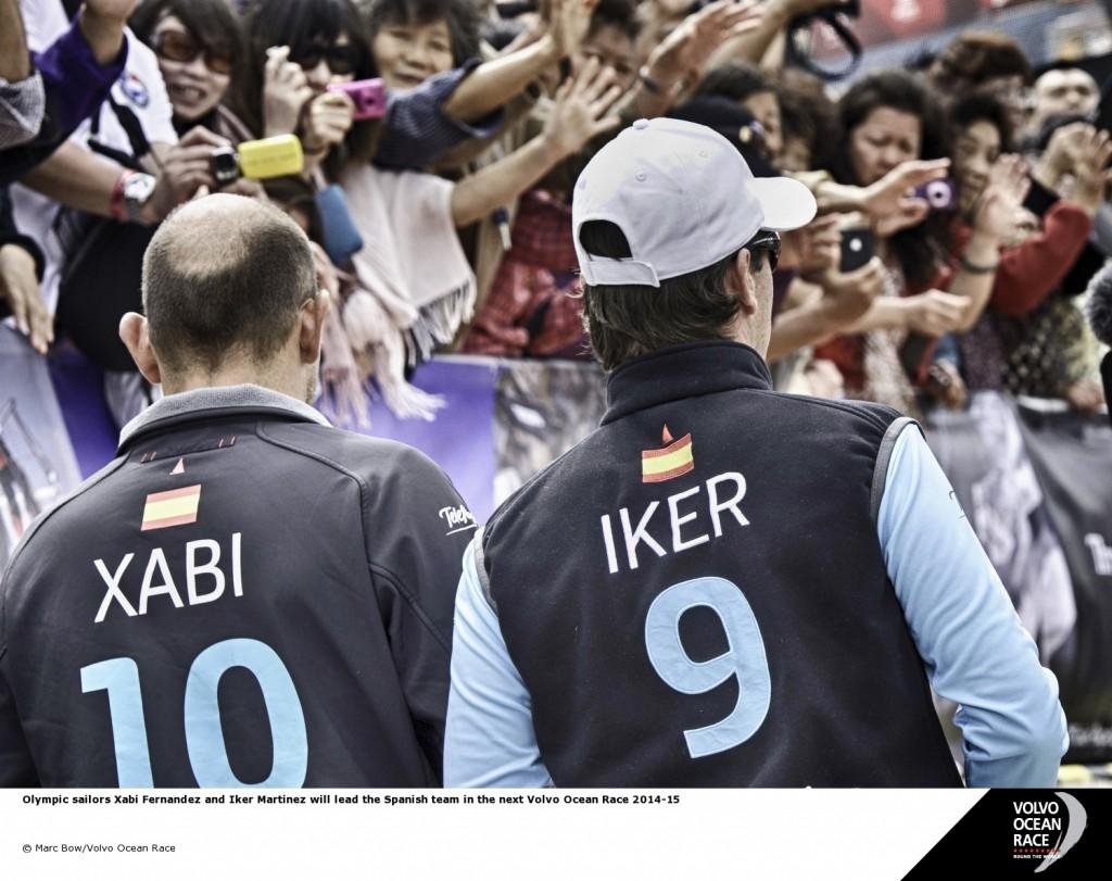 Iker Martinez e Xabi Fernandez alla partenza da Alicante dell'edizione 2011-12. Foto Bow/VOR