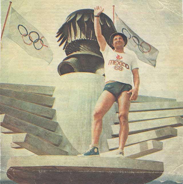 """Mankin """"eroe"""" dello sport sovietico in una rappresentazione celebrativa dopo l'oro ad Acapulco 1968 in Finn. Per lui fu l'affermazione dopo le iniziali difficoltà dovute alle sue origini ebraiche."""