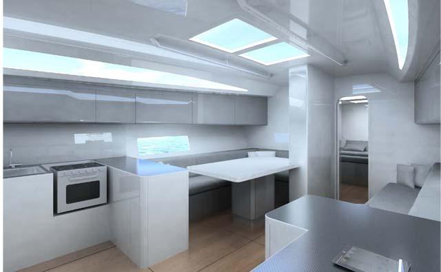 Il quadrato, molto luminoso grazie alle superfici laccate in bianco, sarà sfruttato principalmente in crociera lungo il Mediterraneo