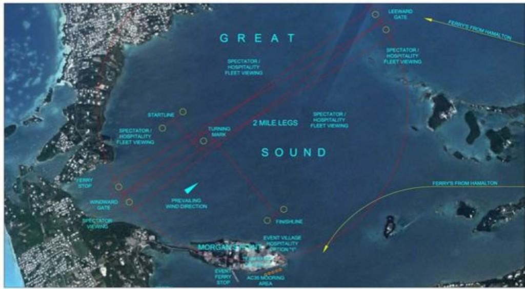 Il proposto campo di regata alle Bermuda