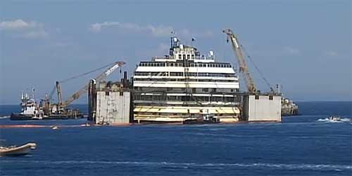 La Costa Concordia nella posizione delle 12 di mercoledì 16 luglio