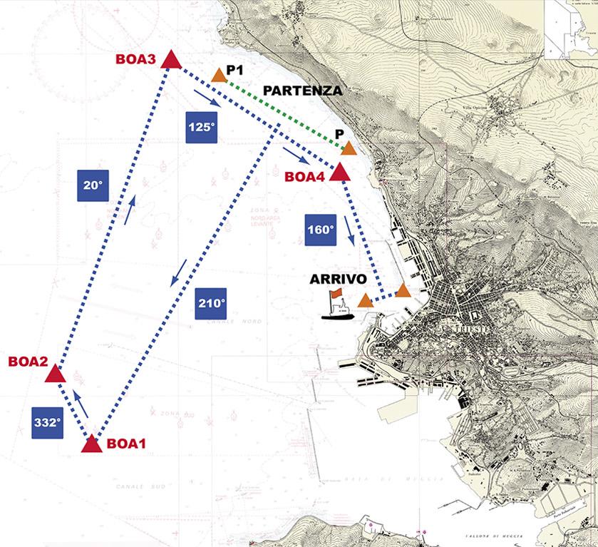 Il nuovo percorso della Barcolana, con l'arrivo di fronte a Piazza Unità