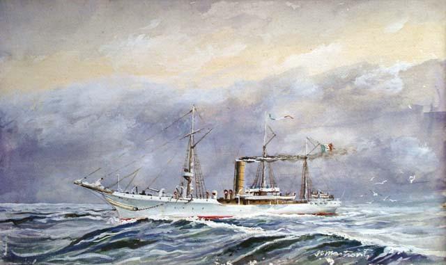 Regia nave avviso Staffetta dipinta da Nino Mastroviti
