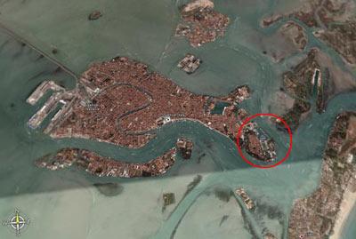 La location del Marina di Sant'Elena, sede dell'evento, a Venezia