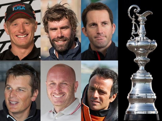 Da sinistra prima fila: James Spithill (Oracle), Iain Percy (Artemis), Ben Ainslie (Ben Ainslie Racing). Seconda fila: Dean Barker (ETNZL), Max Sirena (Luna Rossa), Franck Cammas (Team France). Foto americascup.com