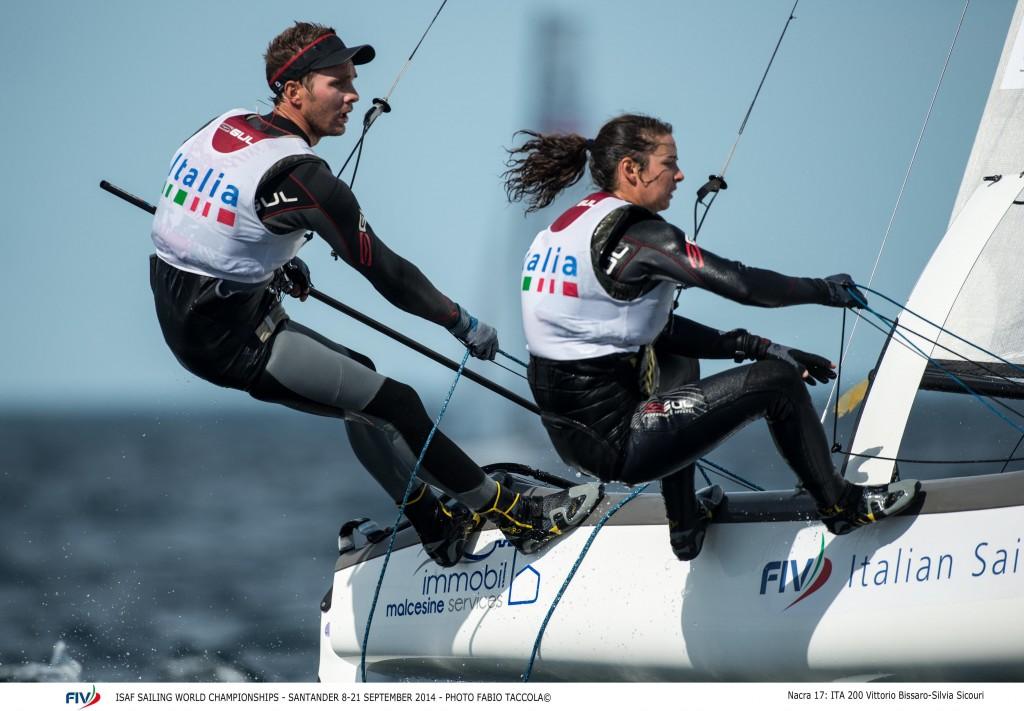 Vittorio Bissaro e Silvia Sicouri oggi in regata. Foto Taccola/FIV