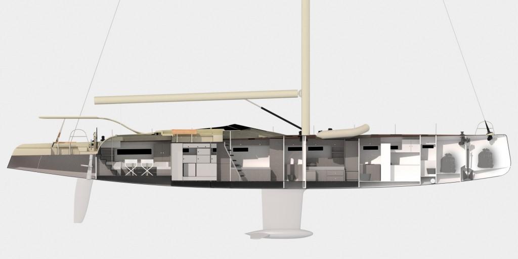 Gli ambienti interni creano un unicum con la coperta grazie ai giochi di luce e alle finestrature