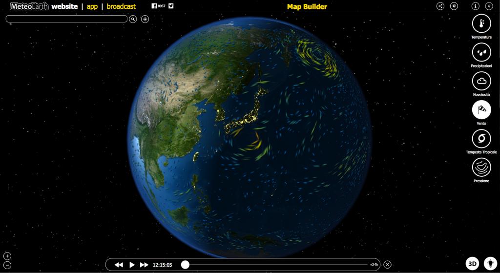 Lo screenshot della home page del sito meteorologico MeteoEatrh.com che ha da poco rilasciato un'app per tablet e smartphone