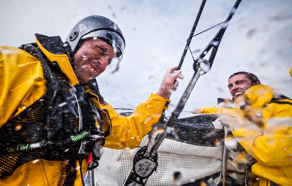A giudicare dall'espressione di Alberto Bolzan, al timone di Alvimedica, la Volvo Ocean Race... Foto Team Alvimedica OBR