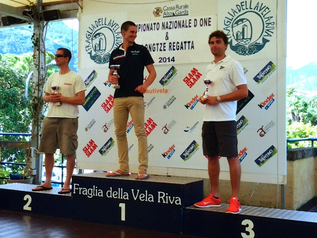 Il podio del Campionato Nazionale D-One alla Fraglia Vela Riva. Foto Giolai