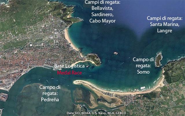 La Baia di Santander, con la disposizione dei campi di regata