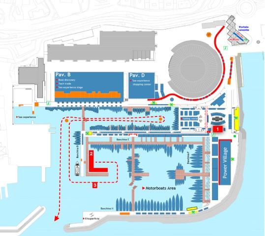 In rosso la collocazione dei Melges all'interno del Salone di Genova e il percorso che la flotta seguirà prima di uscire in mare per le regate