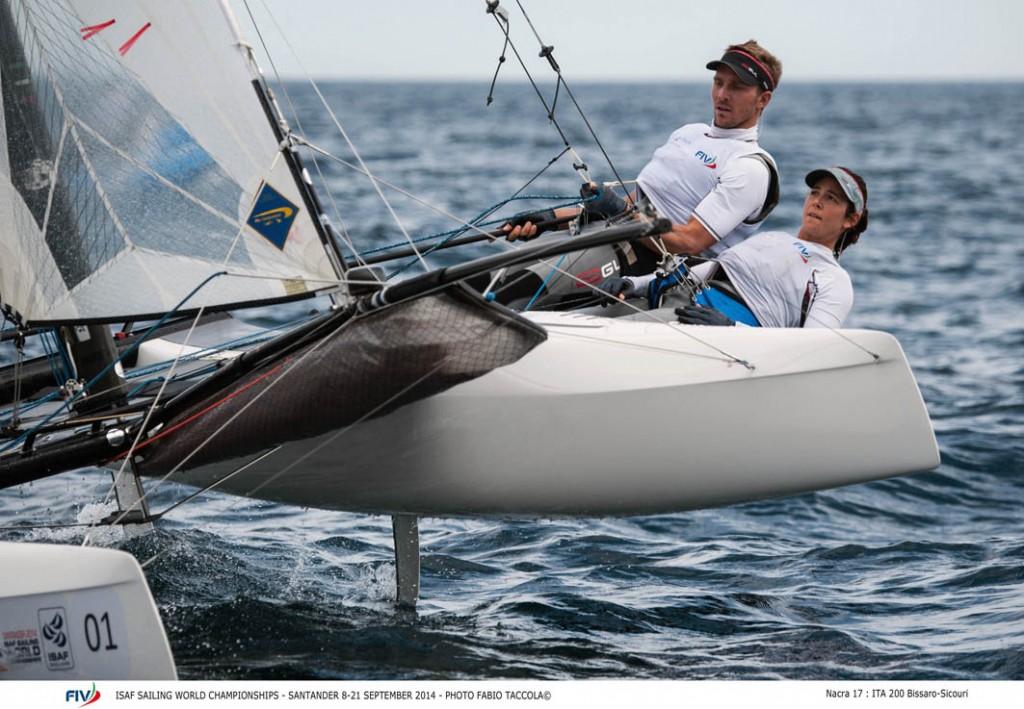 Vittorio Bissaro e Silvia Sicouri in Nacra 17. Foto Taccola/FIV