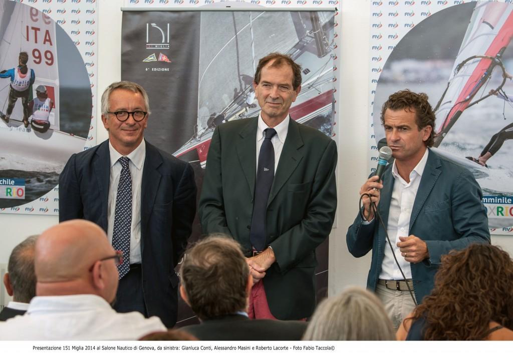Roberto Lacorte (YCRMP), Alessandro Masini (YCPA) e Giulio COnti (YCL) alla presentazione della 151 Miglia. Foto Taccola