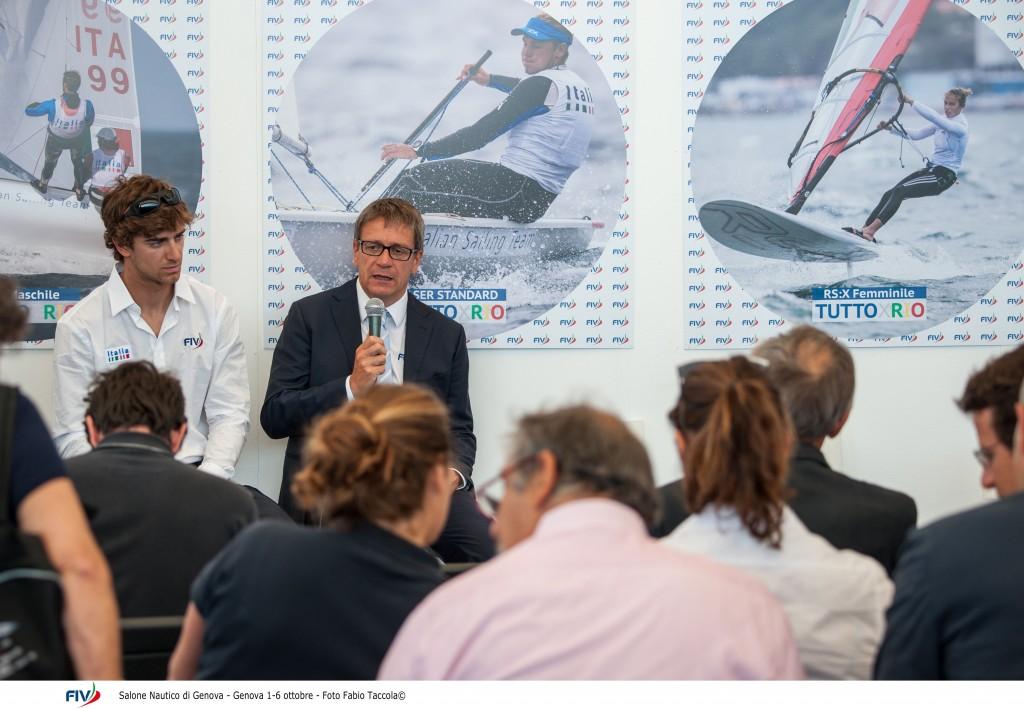Michele Marchesini e Francesco Marrai oggi al Salone. Foto Taccola/FIV
