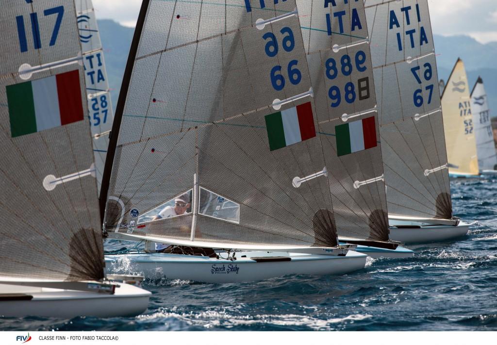 Finn in regata all'edizione 2013 del CICO a Marina di Loano. Foto Taccola/FIV