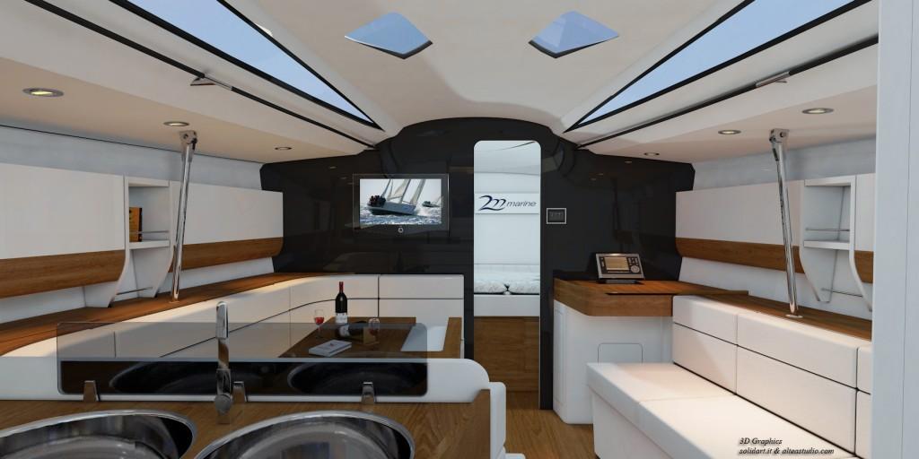 Nuovi interni per l'M37 Opera. Ora è una versione a tre cabine e un bagno. L'essenza è il teak