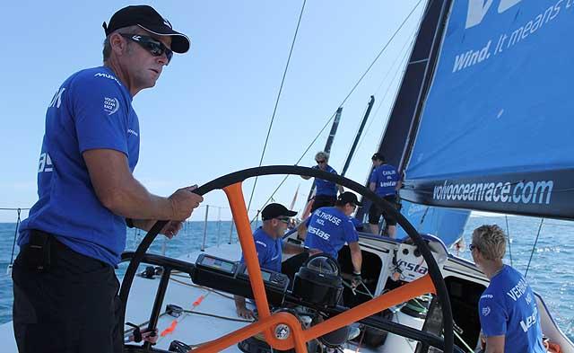 Chris Nicholson, skipper di Team Vestas Wind, durante la Inport Race di oggi. Foto Tognozzi