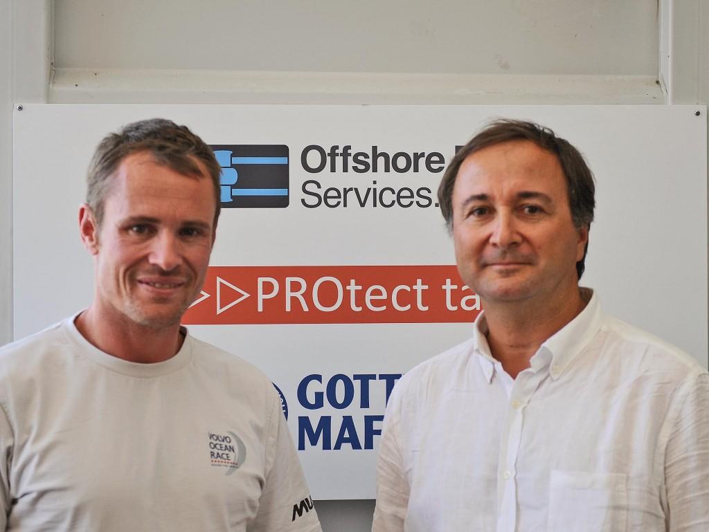 Piero Parmeggiani di Protect Tapes con Nick Bice del The Boatyard della Volvo Ocean Race